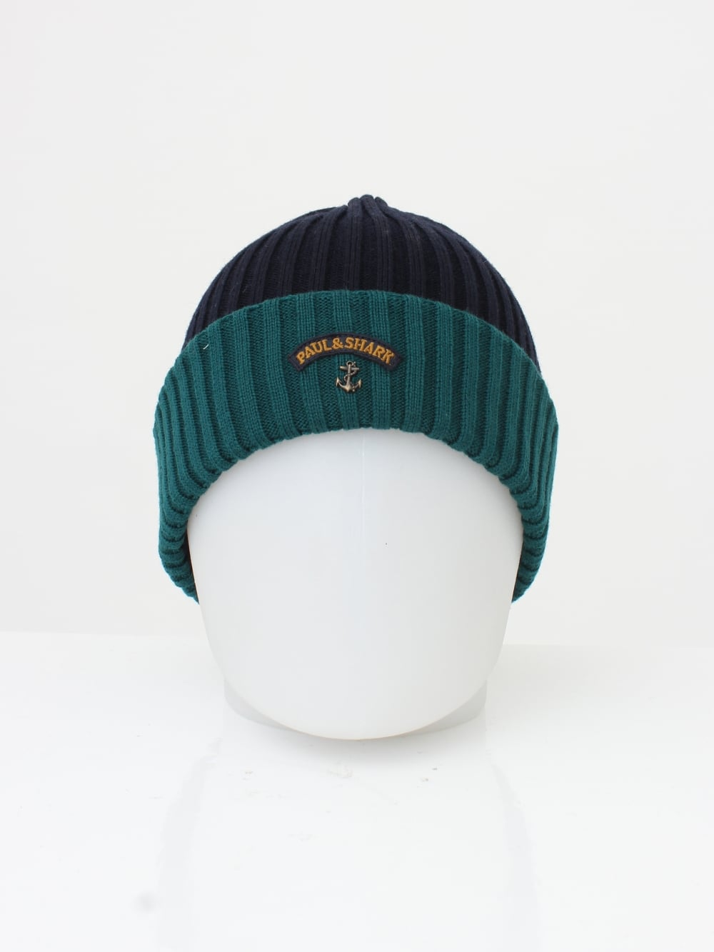 Paul   Shark Knitted Logo Beanie in Navy Green - Northern Threads 98422c324fd
