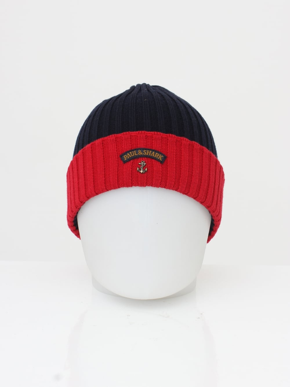 Paul   Shark Knitted Logo Beanie in Navy Red - Northern Threads 6795e98fed7