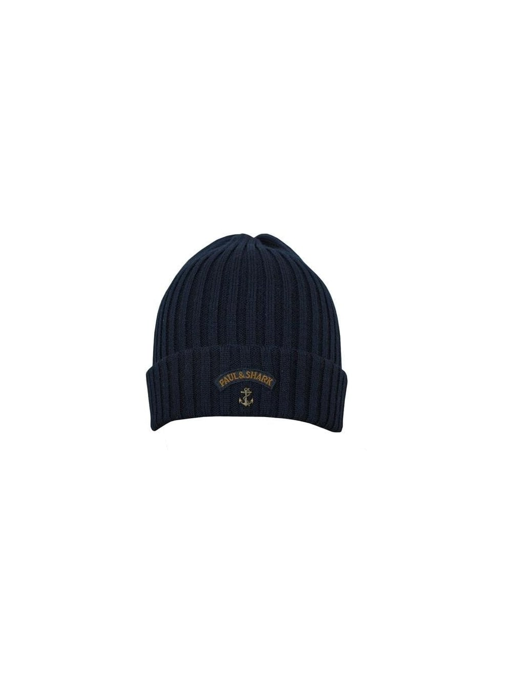 77b06154423 Paul and Shark Knitted Ribbed Logo Beanie in Navy - Northern Threads