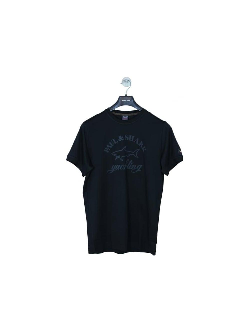 paul shark oversized logo t shirt in black northern. Black Bedroom Furniture Sets. Home Design Ideas