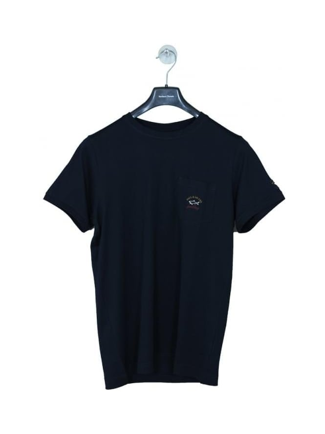 Paul and Shark Pocket Logo Crew Neck T Shirt - Navy