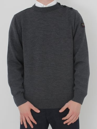 Shoulder Button Crew Neck Knit - Dark Grey