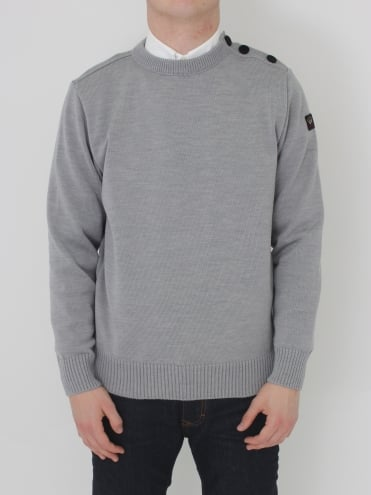 Shoulder Button Crew Neck Knit - Grey