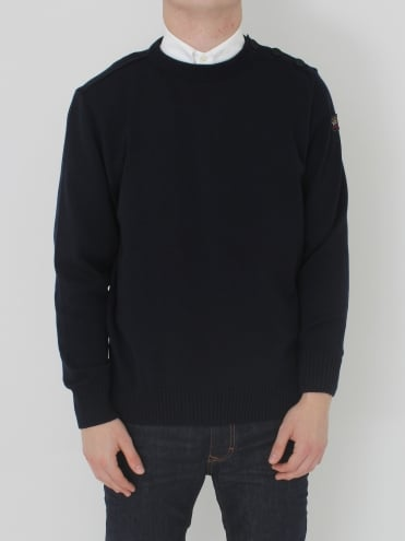 Shoulder Button Crew Neck Knit - Navy