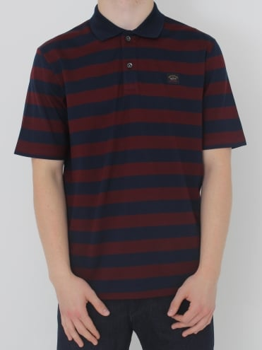 Striped Logo Polo - Burgundy