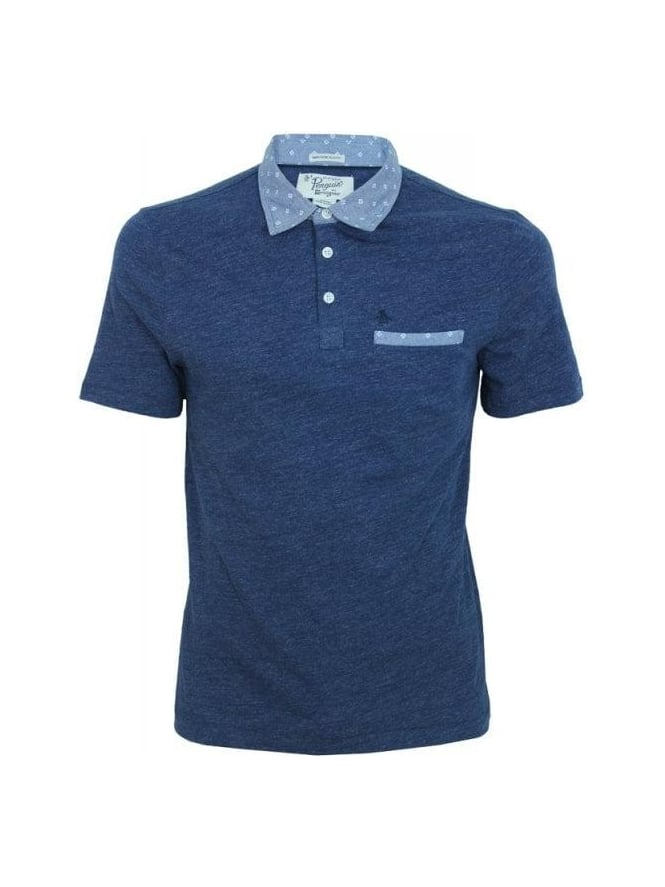 Penguin Mullined Slub Jersey Polo - Blue