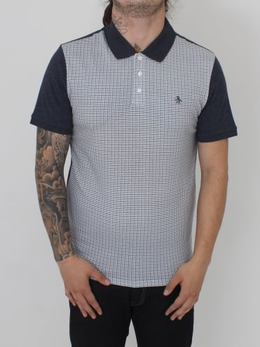 S/S Printed Front Polo - Dark Sapphire