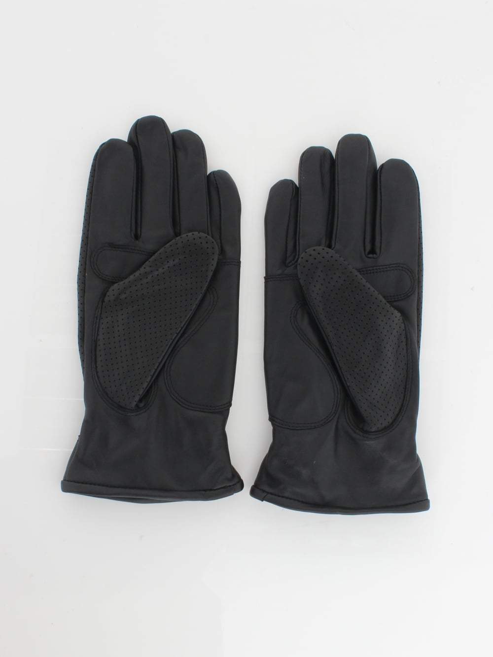 Perforated Leather Gloves - Black Leather