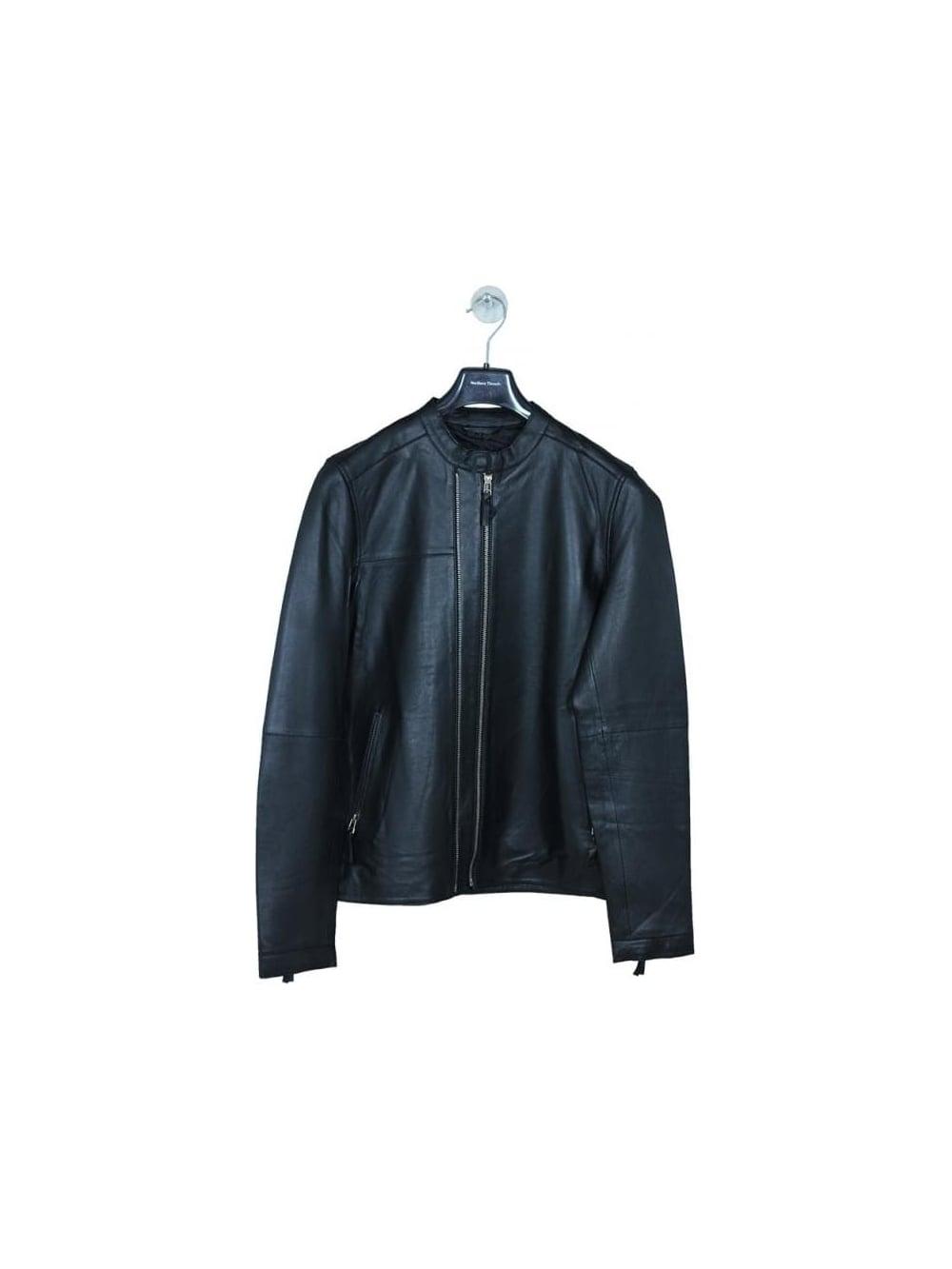 Pretty Green Addison Leather Biker Jacket in Black - Northern Threads 0ffa8792c8db