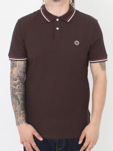 Arlow Tipped Polo - Dark Brown