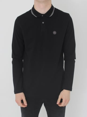 Barton L/Sleeved Tipped Polo - Black