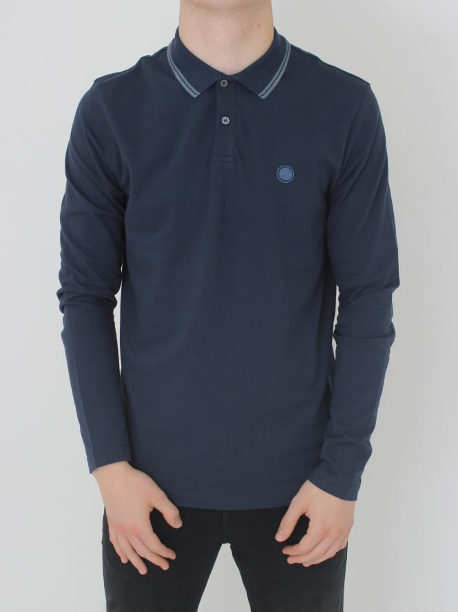 Pretty Green Barton L/Sleeved Tipped Polo - Navy