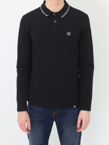 Barton Tipped L/S Polo - Black