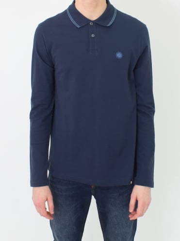 Barton Tipped L/S Polo - Navy