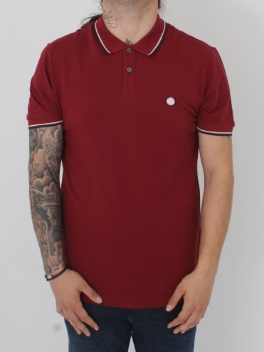 Barton Tipped Polo - Dark Red