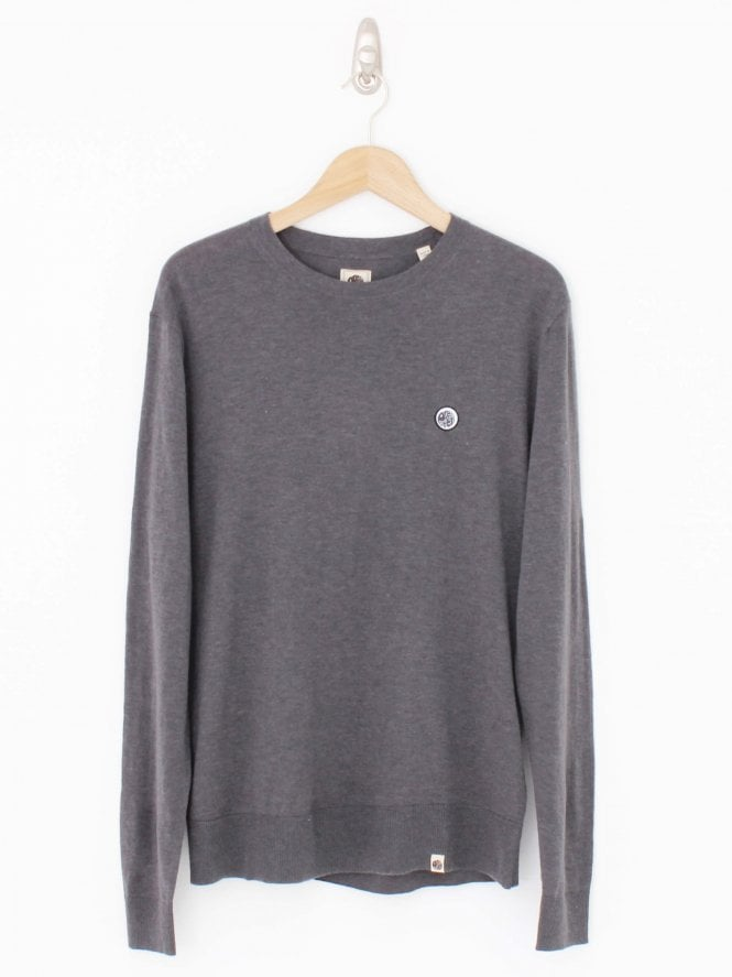 Pretty Green Crew Neck Chest Logo Knit - Grey