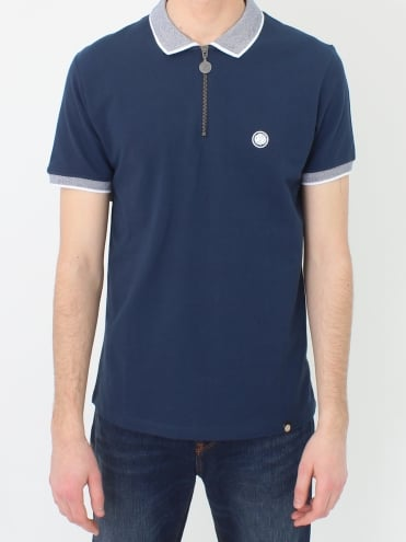 Holcombe Zip Neck Polo - Navy