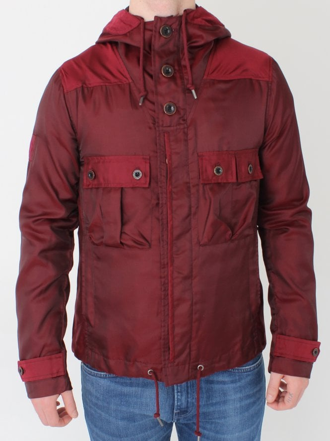 Pretty Green Irredescent Hooded Jacket - Burgundy