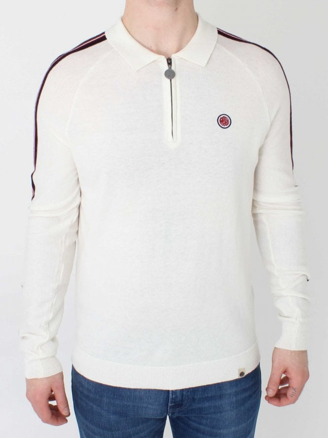 Pretty Green Long Sleeve Knitted Polo - Stone