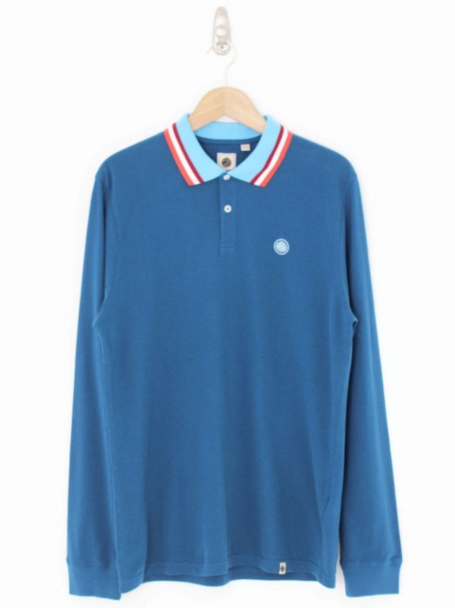 Pretty Green Long Sleeve Logo Polo - Navy