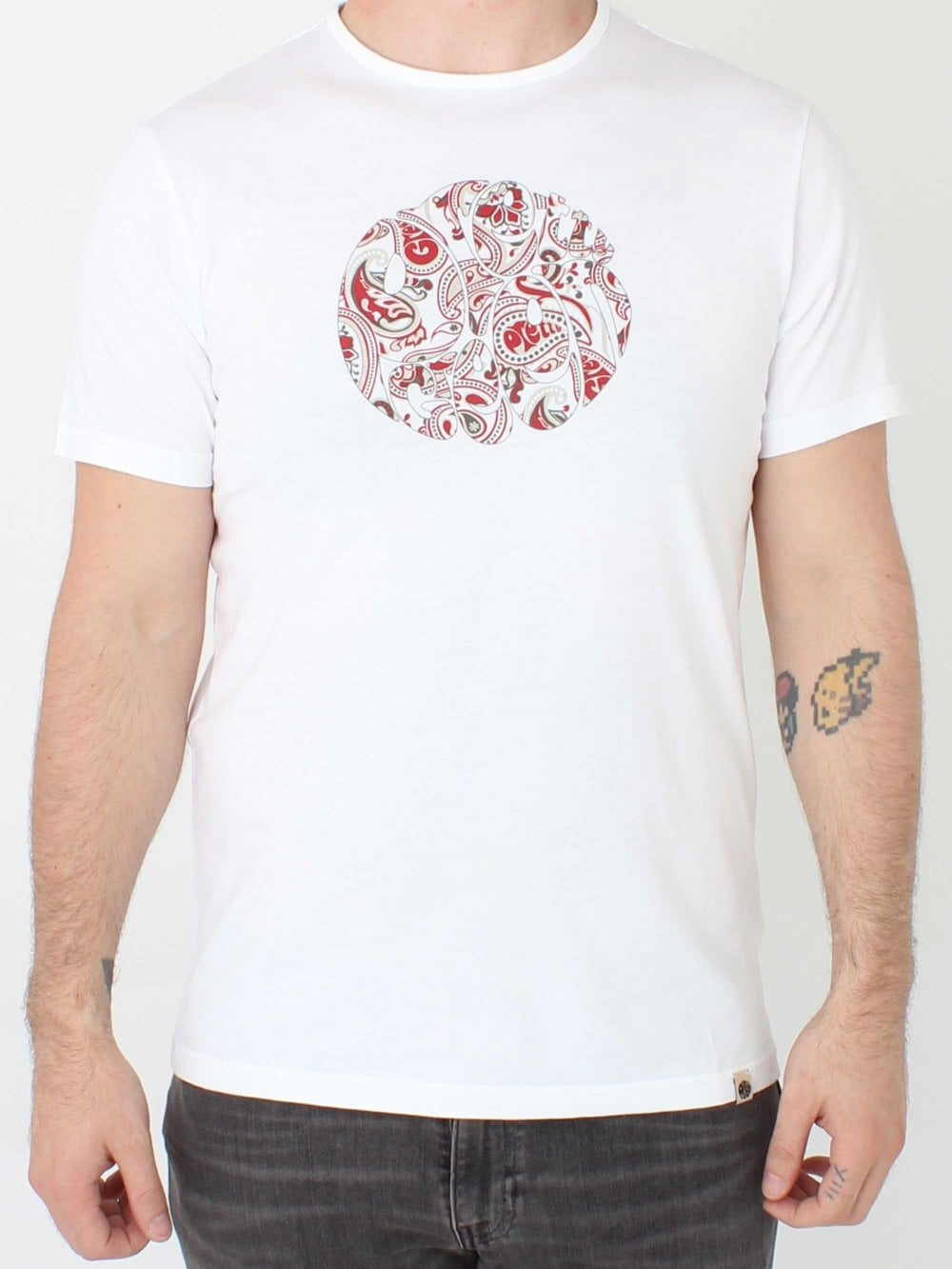 482c7ad22d3 Pretty Green Paisley Print Logo T-Shirt in White