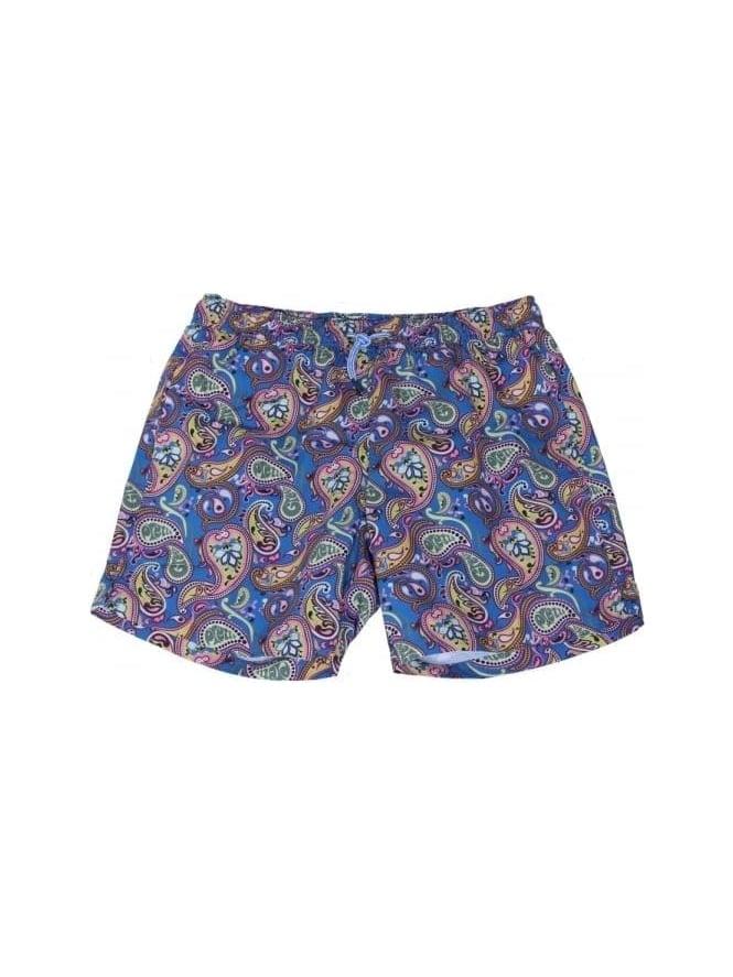 6702fde278cb3 Pretty Green Paisley Swim Shorts In Blue Vintage - Northern Threads