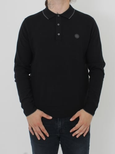 Tilson L/Sleeve Knitted Polo - Black