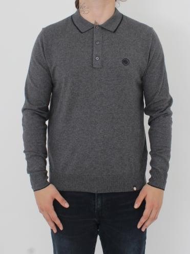 Tilson L/Sleeve Knitted Polo - Dark Grey