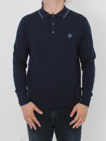 Tilson L/Sleeve Knitted Polo - Navy