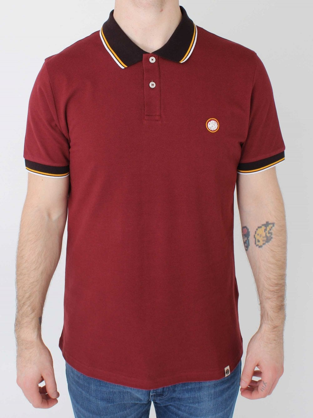 b233245e7d46f3 Pretty Green Tipped Pique Polo in Red | Northern Threads