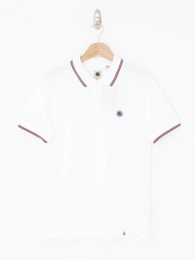 Pretty Green Tipped Pique Polo - White