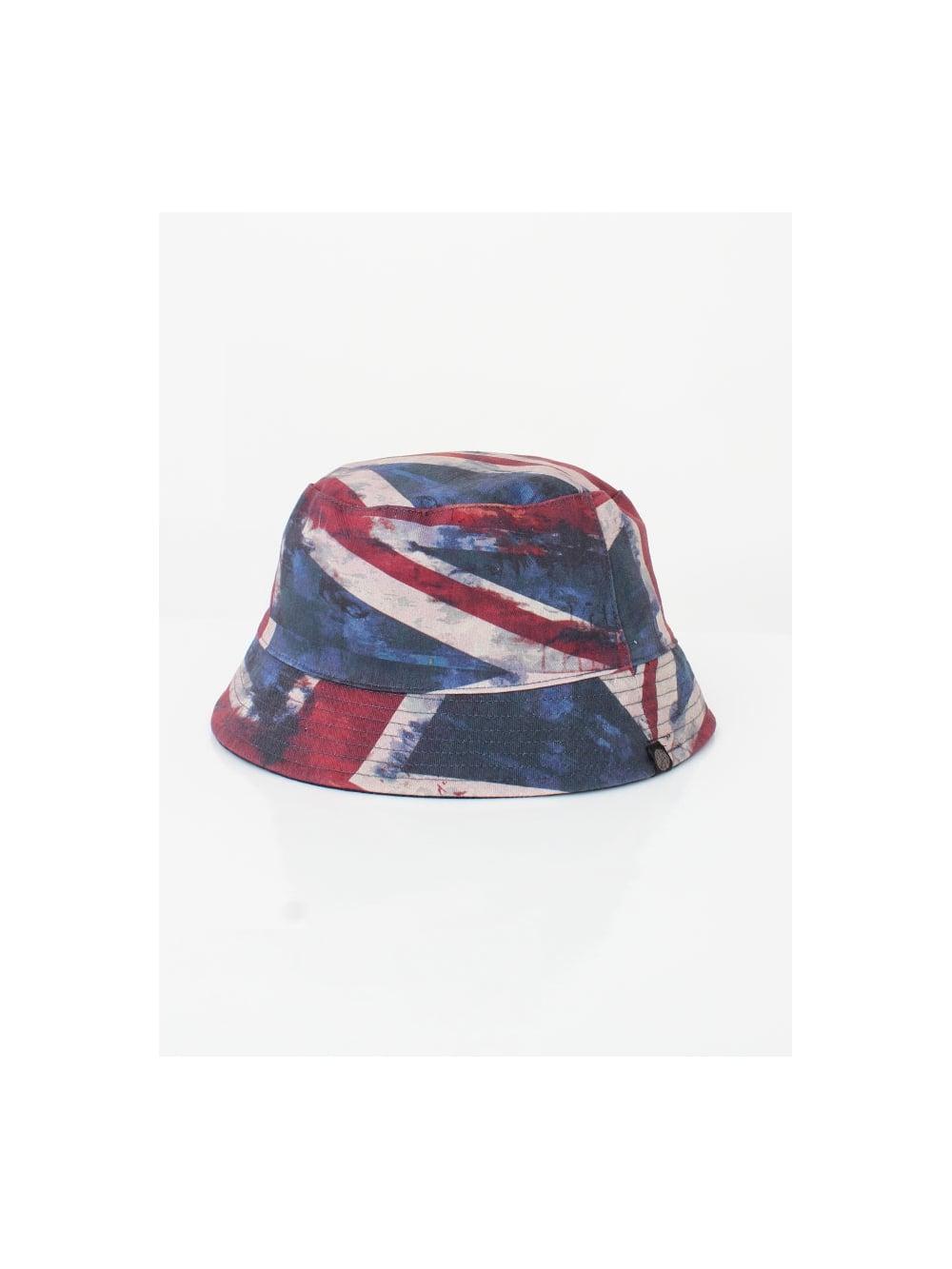 00139873223 Pretty Green Union Jack Bucket Hat in Navy