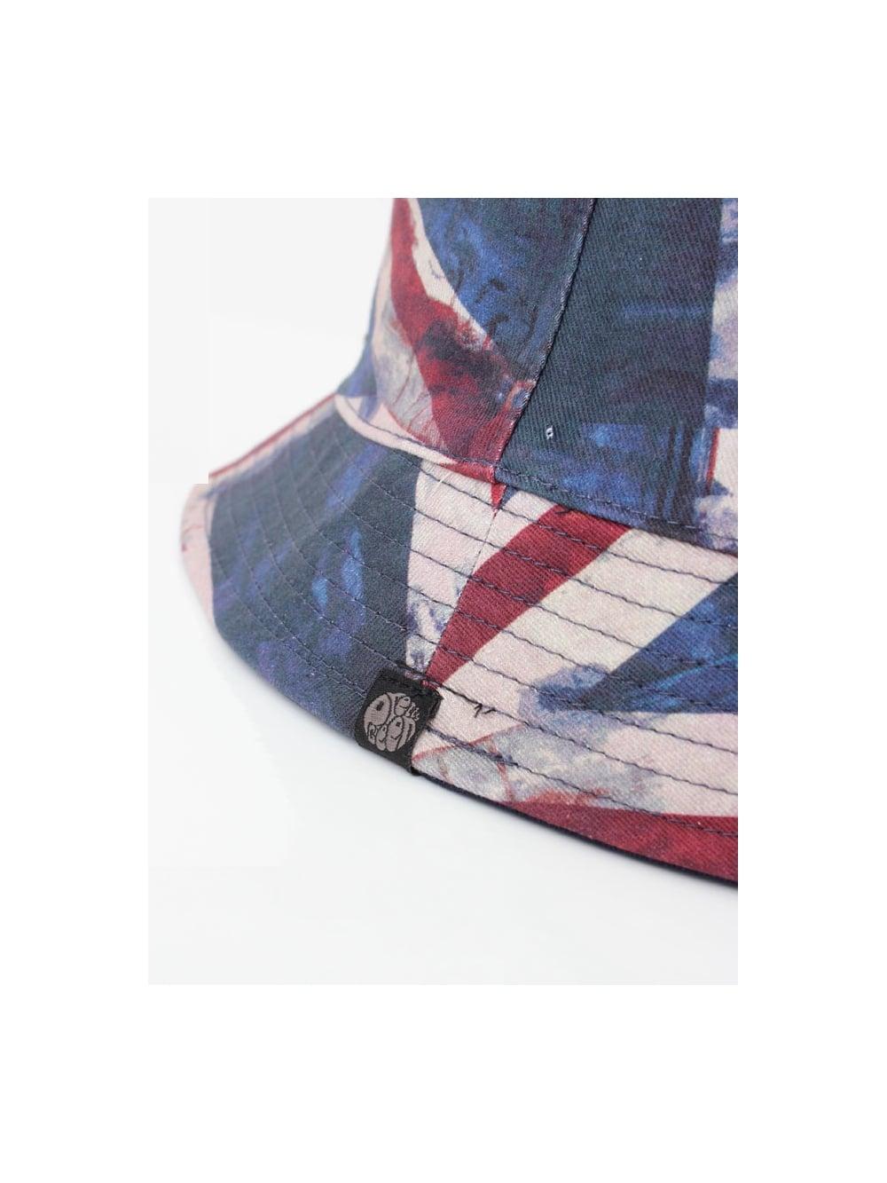 Pretty Green Union Jack Bucket Hat in Navy  74771e949504