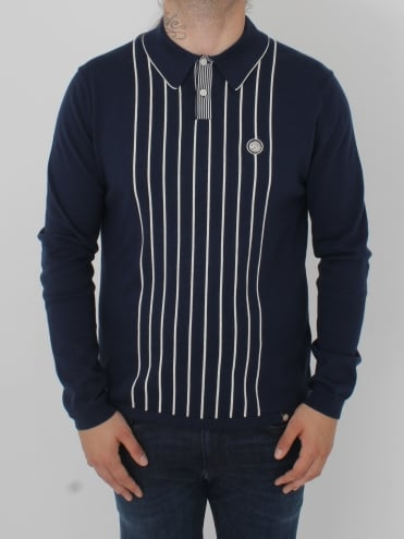 Whittle Knitted Polo - Navy