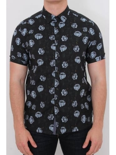 Jorge Flower Stamp Print Shirt - Navy