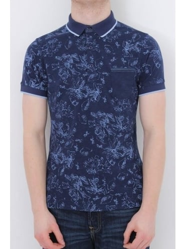 Solid Collar Printed Polo - Navy