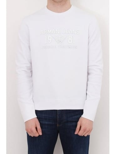 Rubberised Enhanced Logo Sweat - White