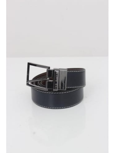 Reversible Leather Belt - Navy