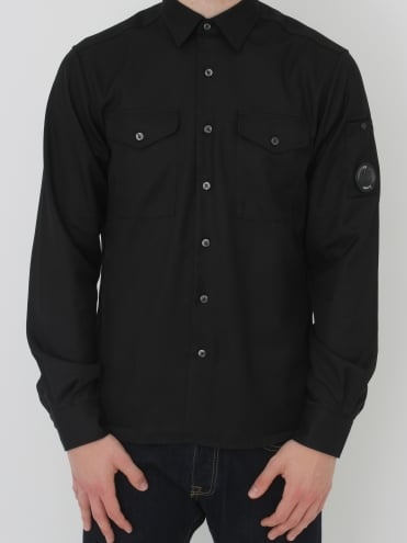 Military Arm Lens Overshirt - Caviar