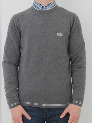 - BOSS Green - Rime Crew Neck Knit - Medium Grey