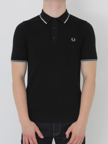 Tipped Knitted Polo Shirt - Black