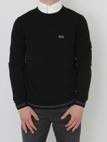 - BOSS Green Rime Crew Neck Knit - Black