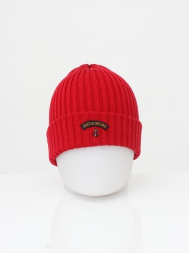 Knitted Logo Beanie - Red