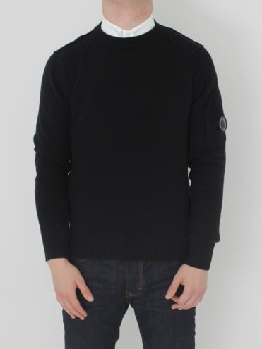 Arm Lens Crew Neck Knit - Caviar