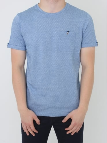 Vue Jaquard Crew Neck T.Shirt - Blue