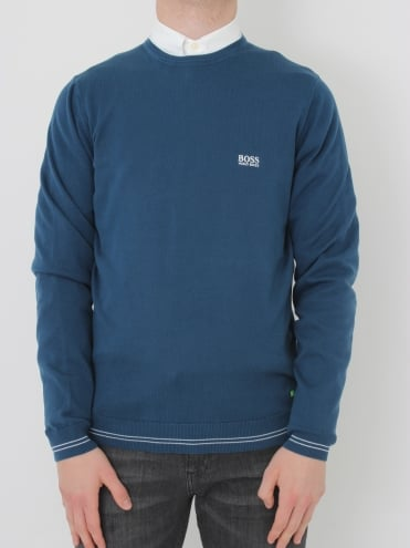 - BOSS Green Rime Crew Neck Knit - Open Blue