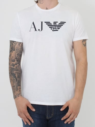 AJ Eagle Logo Crew T.Shirt - White