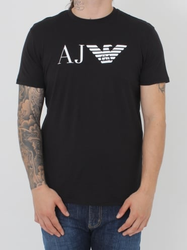 AJ Eagle Logo Crew T.Shirt - Black