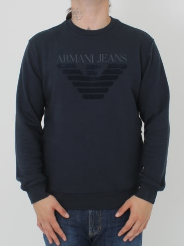 Oversized Applique Logo Sweat - Navy