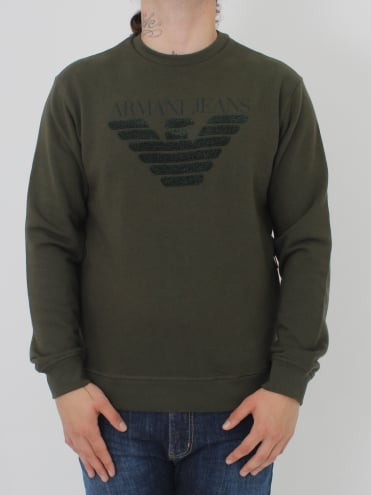 Oversized Applique Logo Sweat - Olive